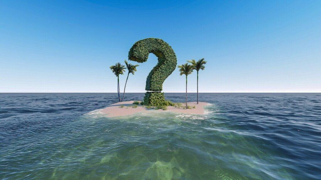 Følelsen av spørsmåltegn på en øde øy når du har beslutningsvegring i fastslåtte situasjoner